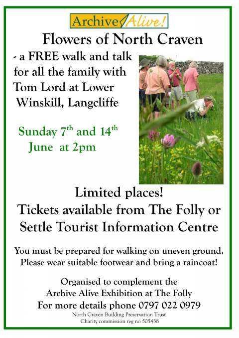 Flowers of North Craven - a FREE walk and talk for all the family with Tom Lord at Lower Winskill, Langcliffe Sun 7th and 14th June (59kb)