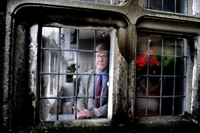 Appeal: Playwright Alan Bennett gazes out of the rain-soaked windows of The Folly (JPG, 57Kb).  Click on the image to link to the newspaper article on the Craven Herald's website  at http://www.cravenherald.co.uk/.  Reproduced with permission of and thanks to The Craven Herald (http://www.cravenherald.co.uk/) and Stephen Garnett