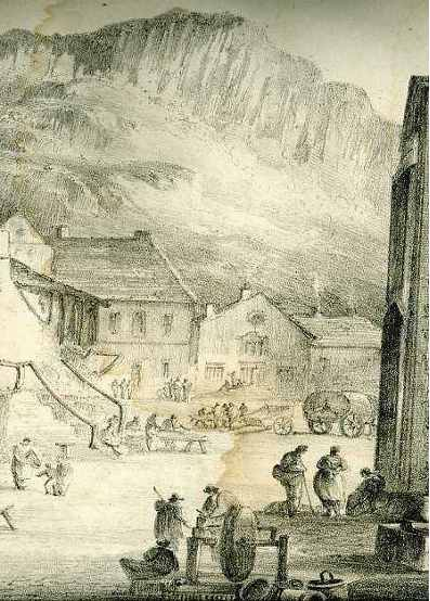 Detail of Nicholson's lithograph of Settle Market Place 1822 (40Kb)