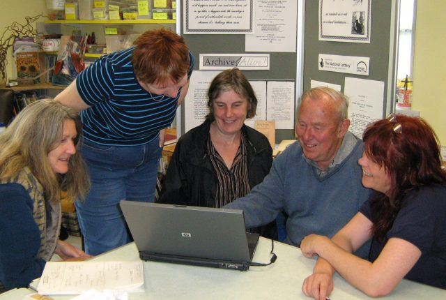 At Bentham, Pioneer Project staff and students, local artist Philippa Troutman and local historian David Johnson start studying the archives. (JPG, 60Kb)
