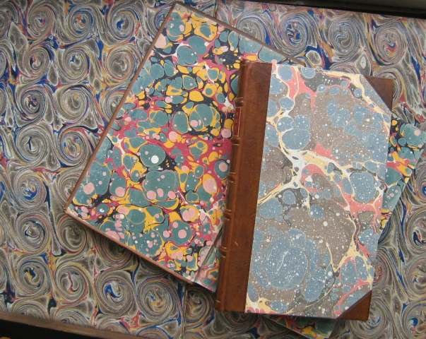 Marbled end papers and covers from 18th century books in the collection (JPG, 60Kb)