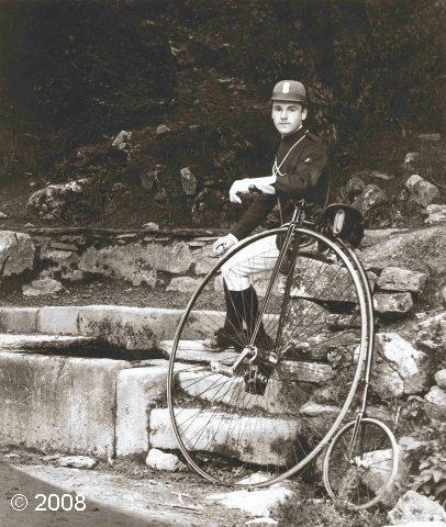 Ebbing and Flowing Well, Giggleswick, 1885: A cyclist from Barnoldswick takes a breather beside this local feature which can still be seen alongside the B6480 at the foot of Giggleswick Scar (© 2008) (JPG, 53Kb)